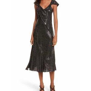 Diane Von Furstenburg Metallic Dot Midi Dress